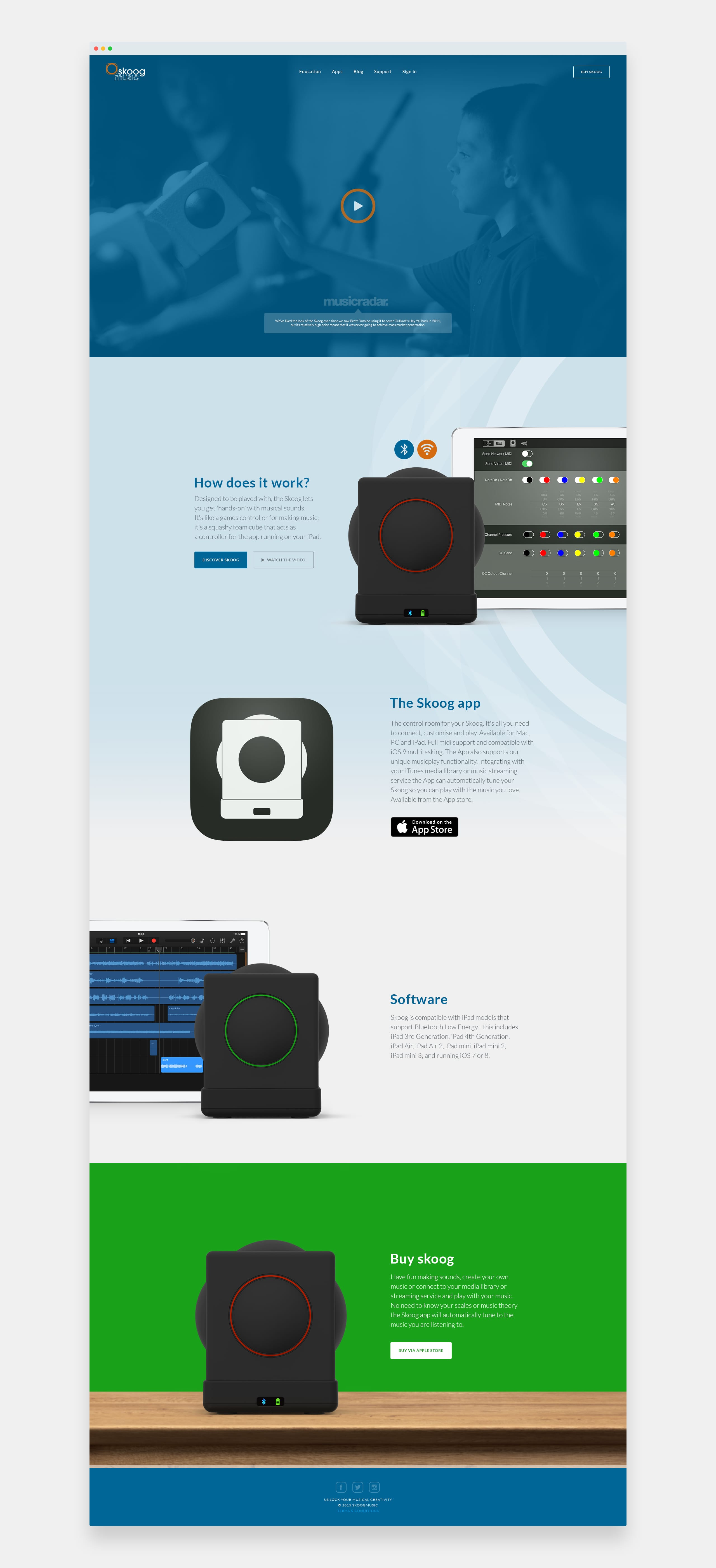Skoog music website mock-ups