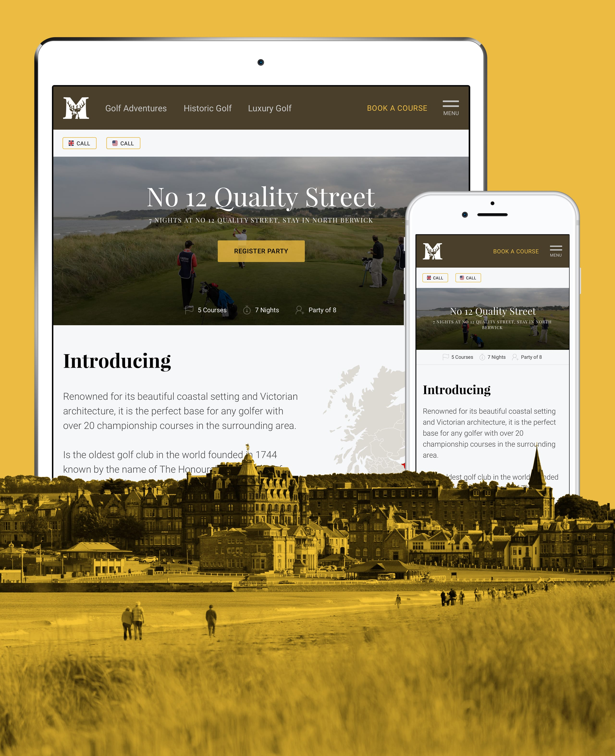 Muirfield Travel website mock-ups